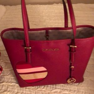 MK red valentine heart tote worn once